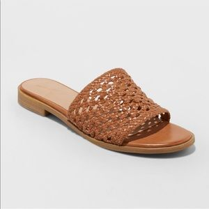 NEW Women's Ellen Cognac Woven Slide Sandals 6.5